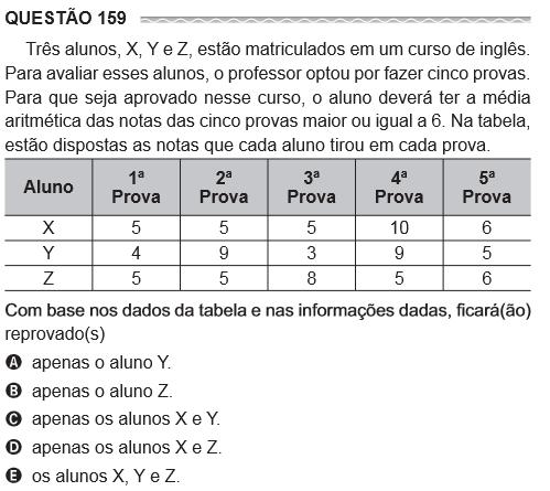 Questão 159 Três alunos X, Y e Z, estão matriculados em um curso